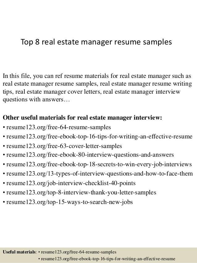Image.slidesharecdn.com/top8realestatemanagerresum...  Realtor Resume Examples