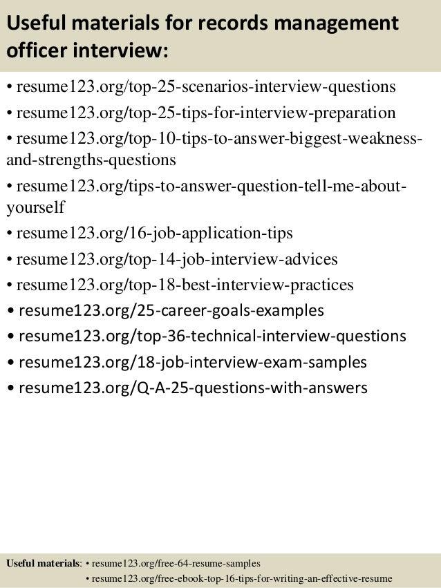 records management resume