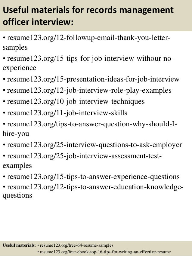 Records officer sample resume