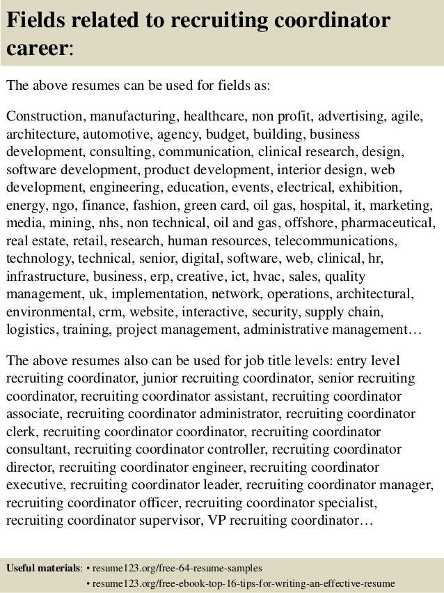 top 8 recruiting coordinator resume sles