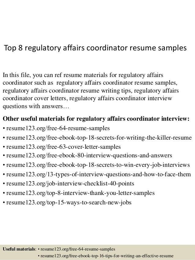 top 8 regulatory affairs coordinator resume sles