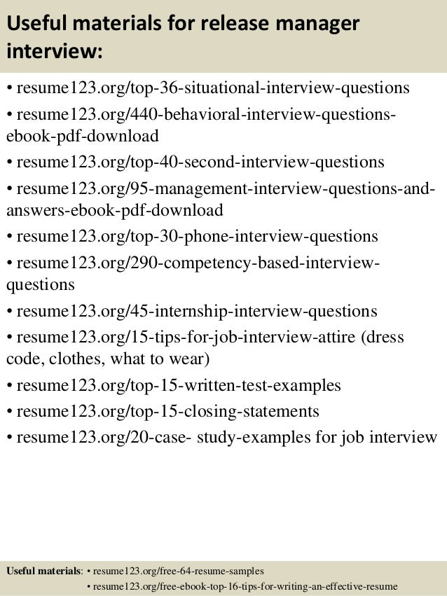 Release Manager Resume ... 12. Useful materials for release manager ...