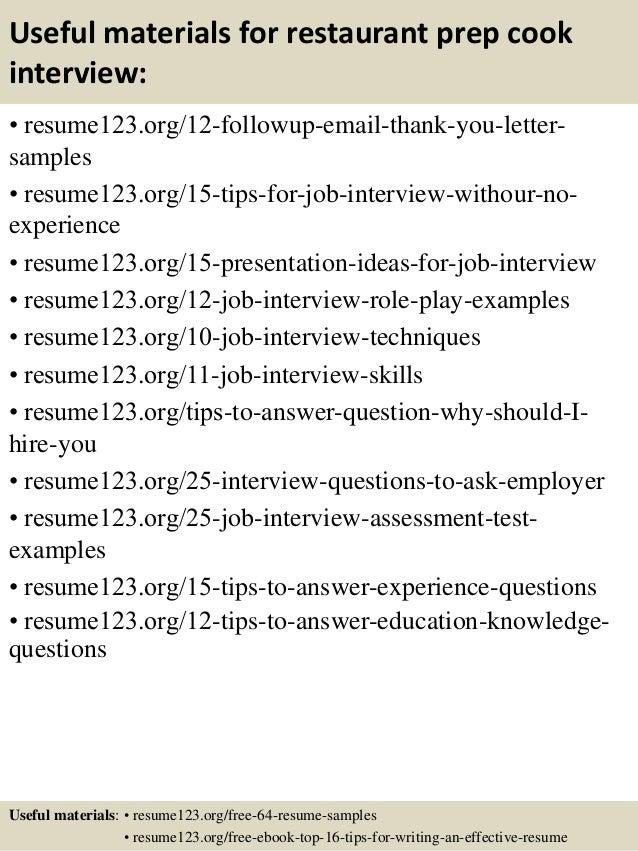 prep cook resume sample