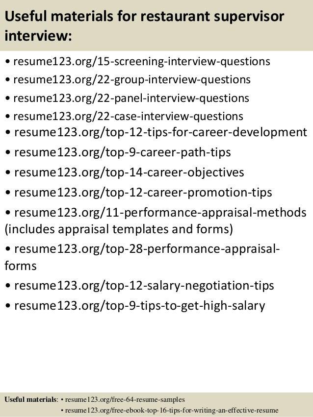restaurant manager duties for resume