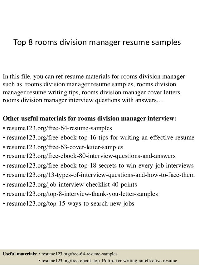 top 8 rooms division manager resume samples