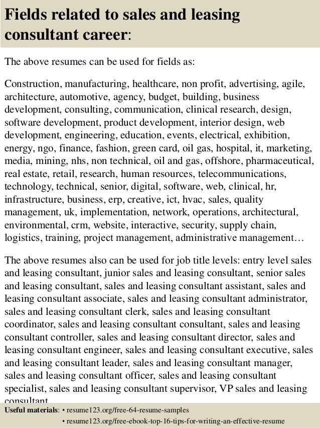 top 8 sales and leasing consultant resume samples