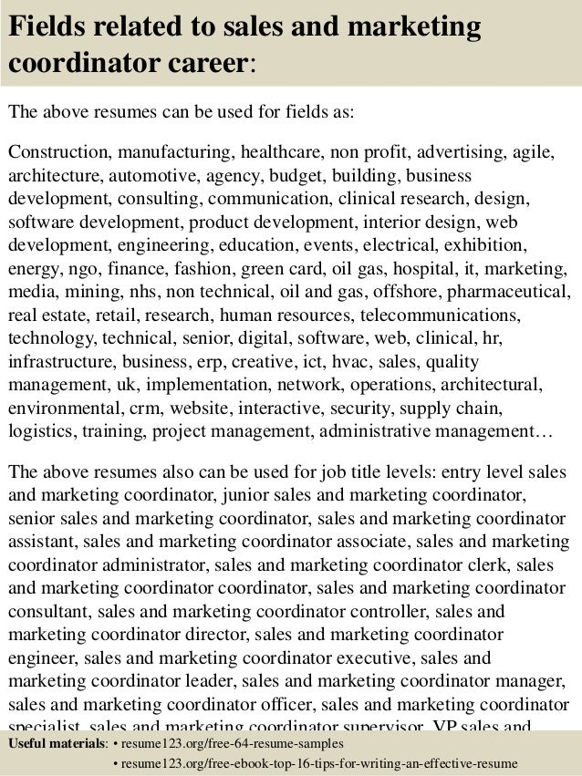 top   s and marketing coordinator resume samples       fields related to  s and marketing coordinator