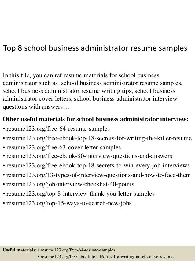 top 8 school business administrator resume samples