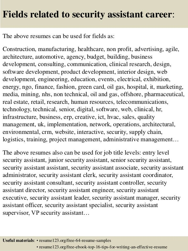 top  security assistant resume samples