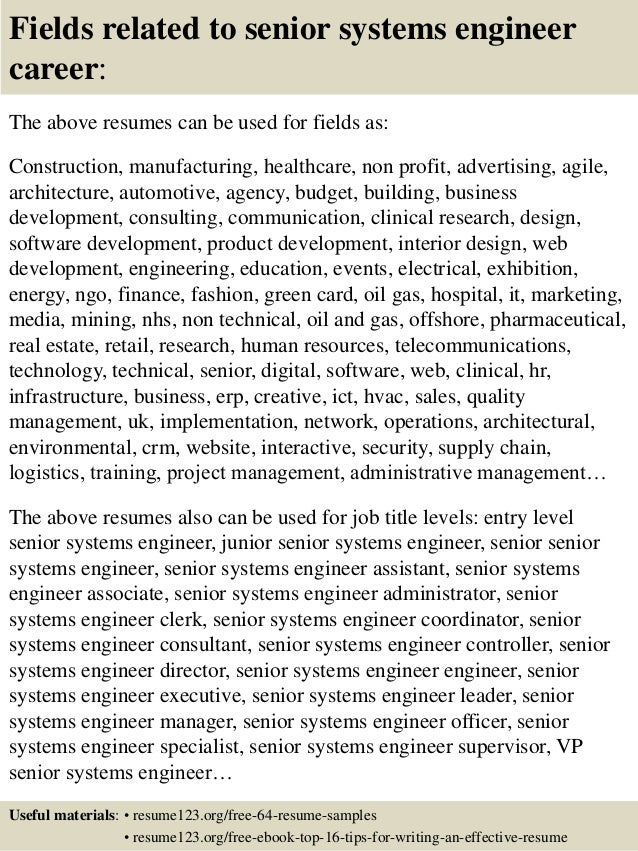 fields related to senior systems engineer career the above resumes