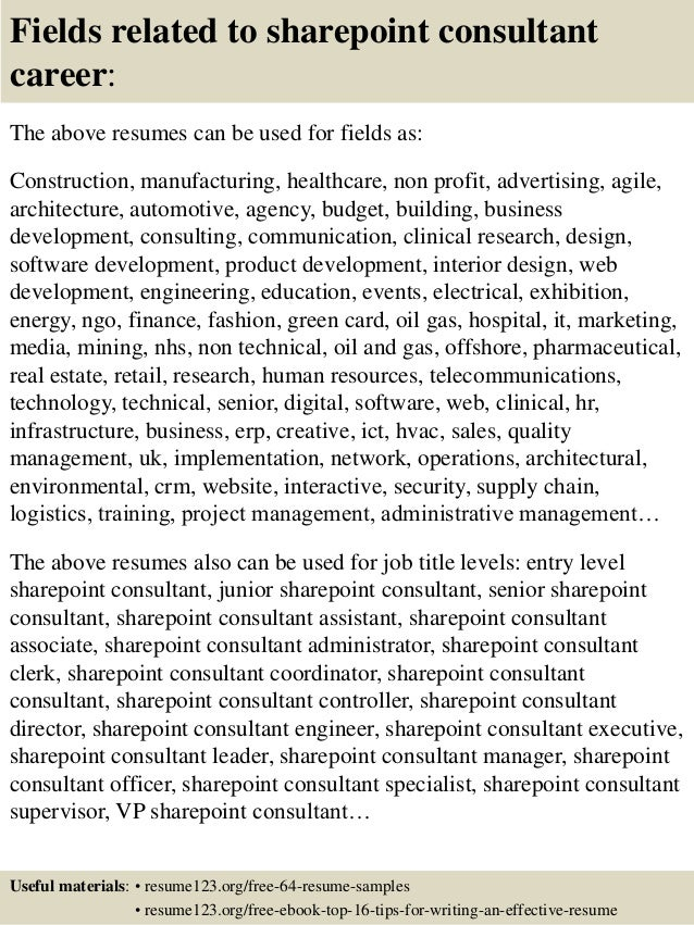 fields related to sharepoint consultant career the above resumes can