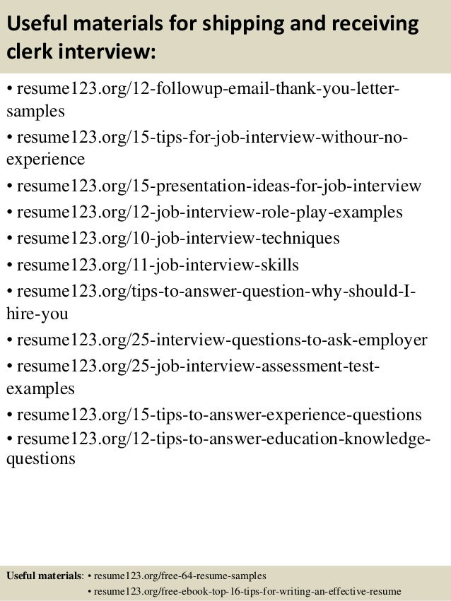 top 8 shipping and receiving clerk resume sles