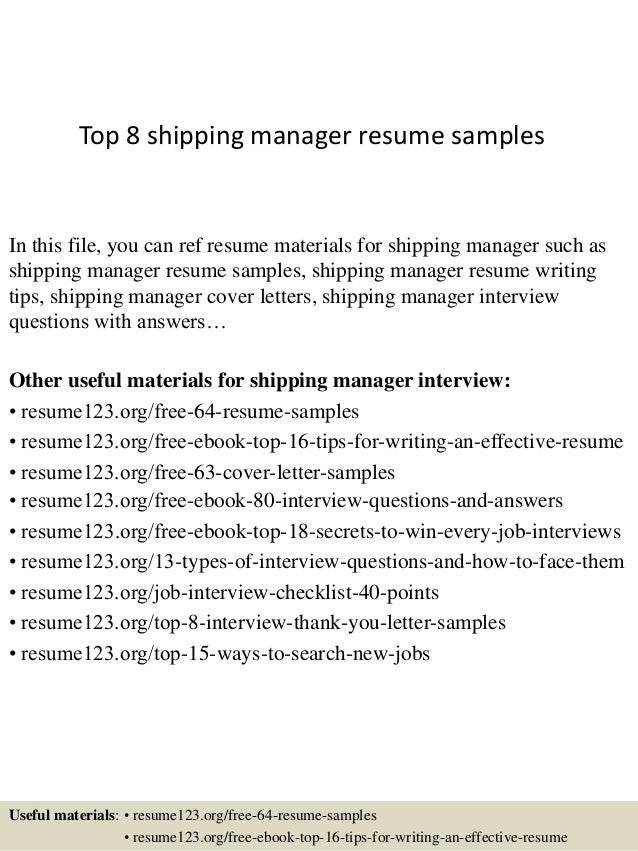 Resume shipping manager