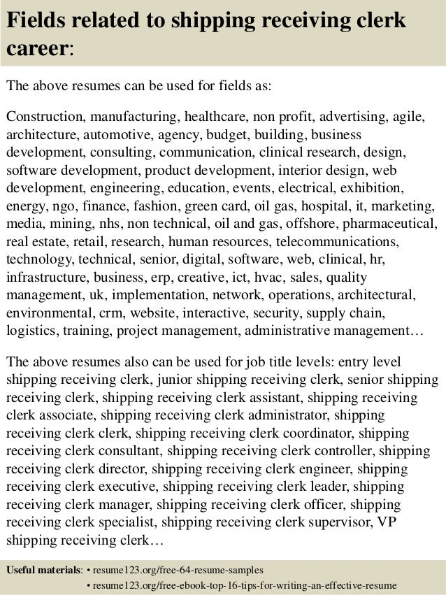 Top 8 Shipping Receiving Clerk Resume Samples 16 Fields Related To