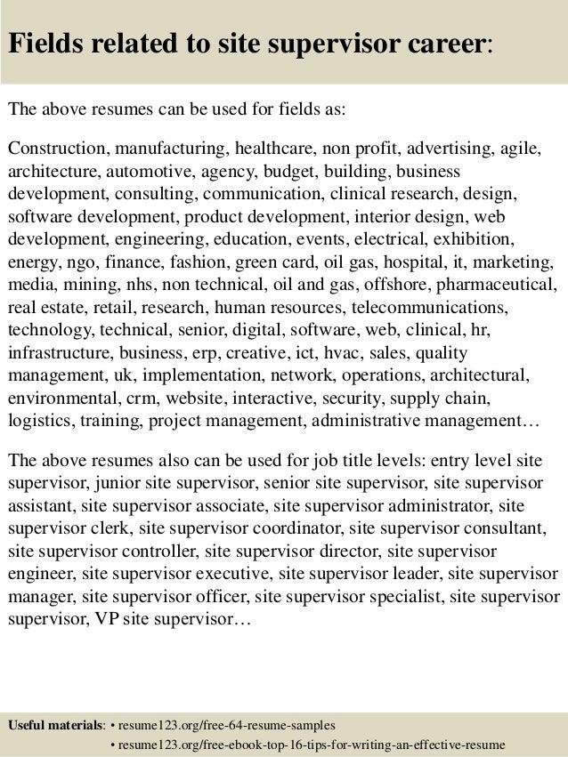 Site supervisor resume sample