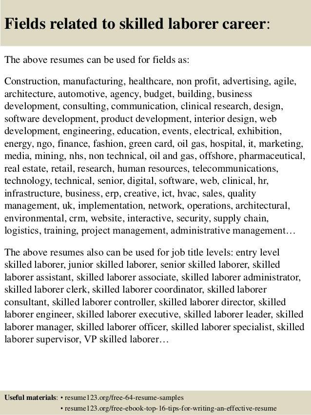 top  skilled laborer resume samples