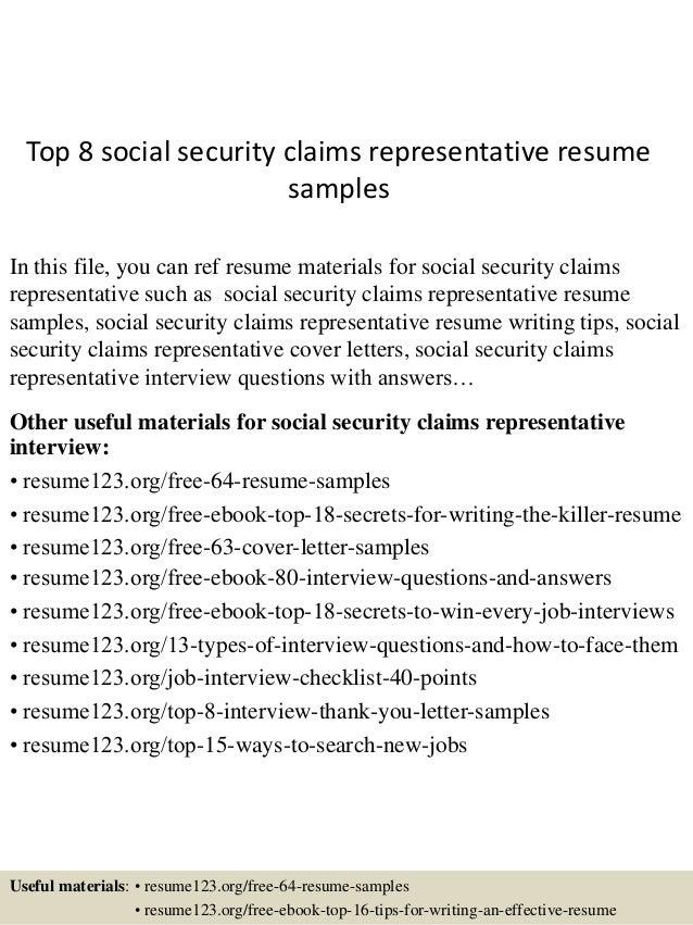 top 8 social security claims representative resume sles