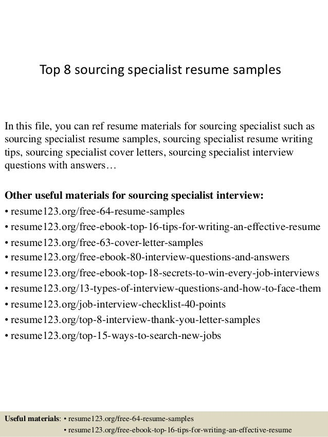 top 8 sourcing specialist resume samples