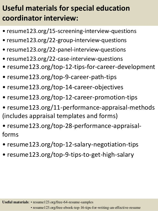 top  special education coordinator resume samples       useful materials for special education