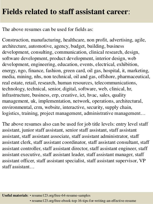 14 useful materials for staff assistant. resume template ...