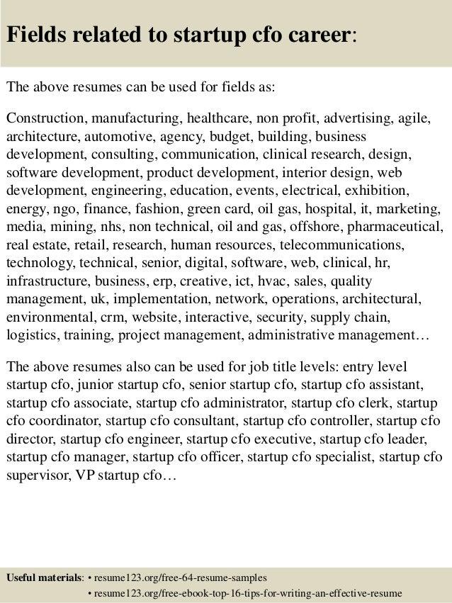 top 8 startup cfo resume sles