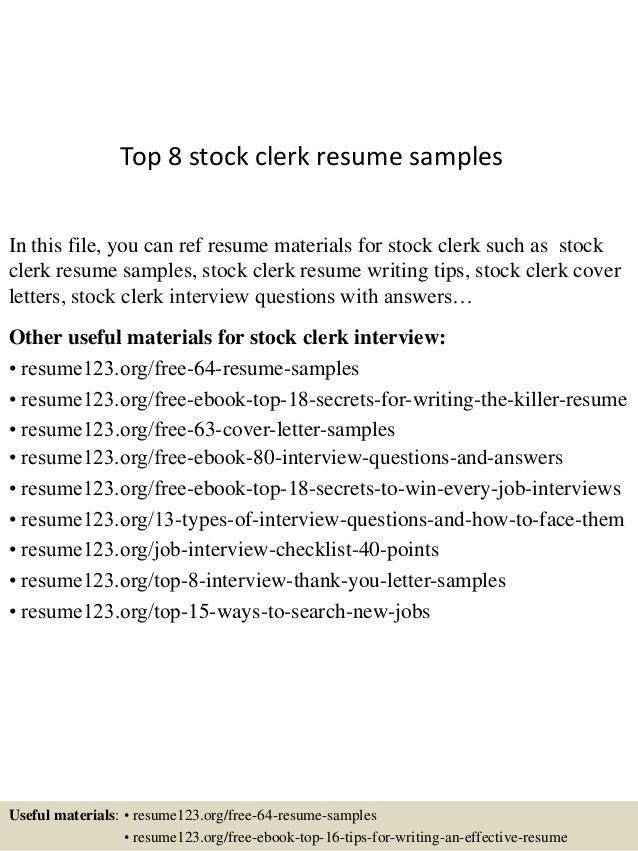 top 8 stock clerk resume sles