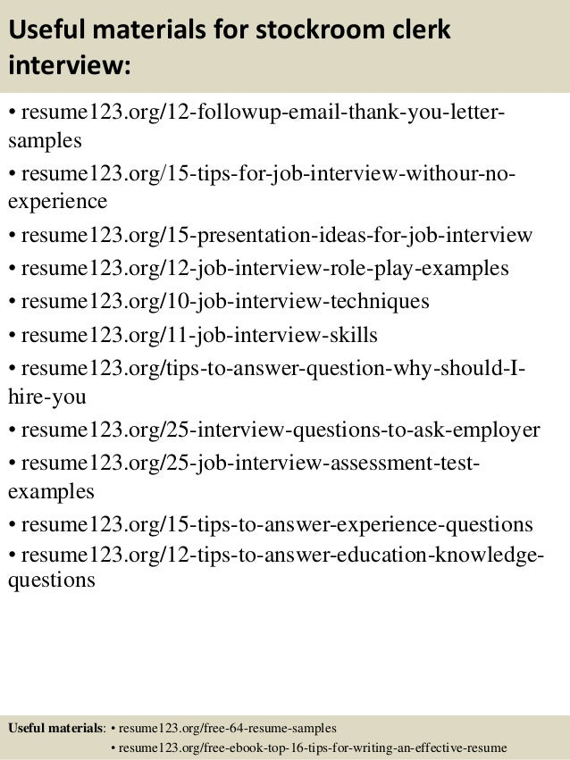 stockroom clerk sample resume