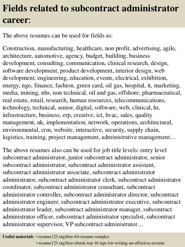 top 8 subcontract administrator resume samples