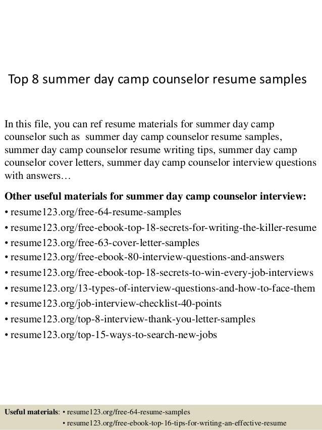 Merveilleux Camp Counselor Resume Samples VisualCV Resume Samples Database