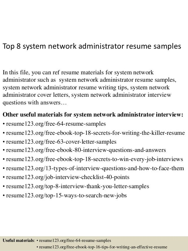 sample resume for network administrator