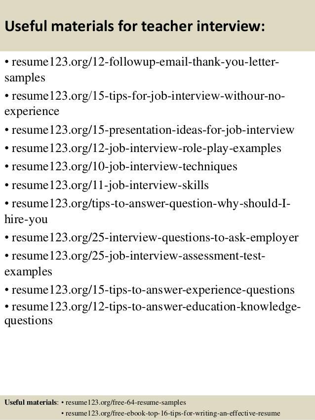 top  teacher resume samples