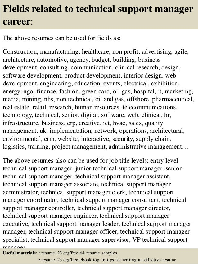 Technical support manager resume examples