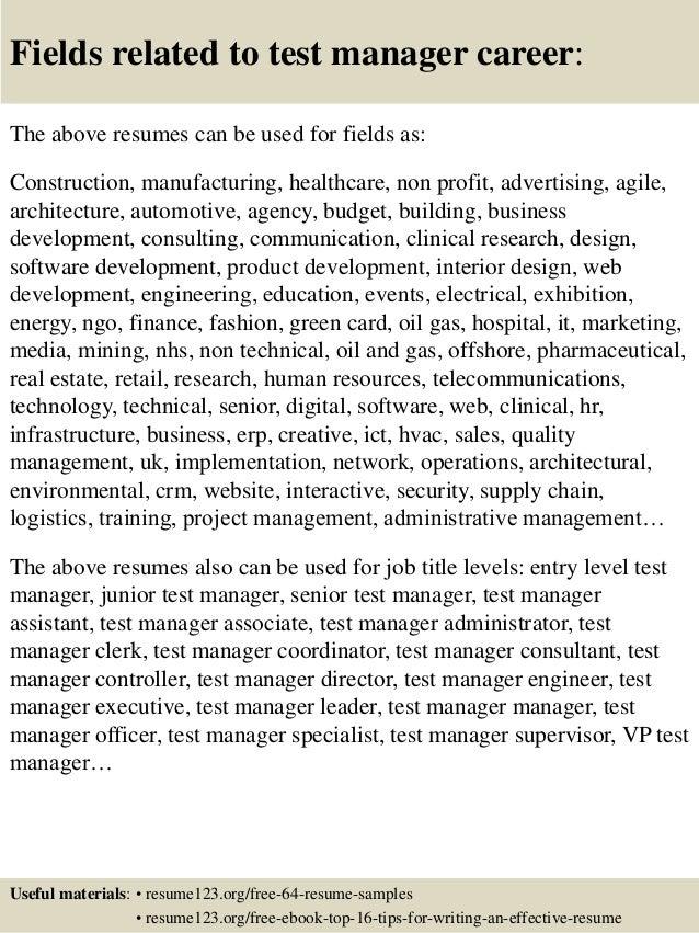 top 8 test manager resume samples