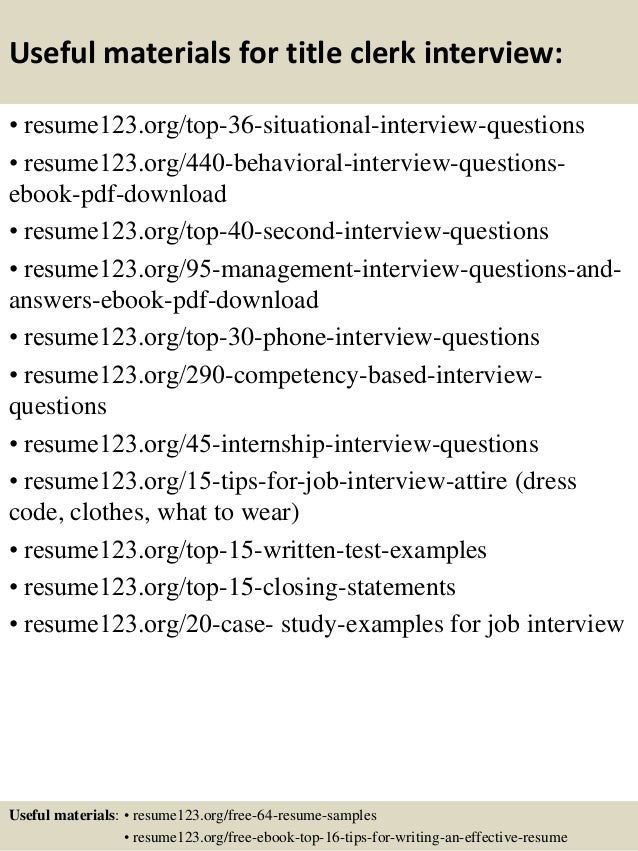 top  title clerk resume samples       useful materials for title clerk