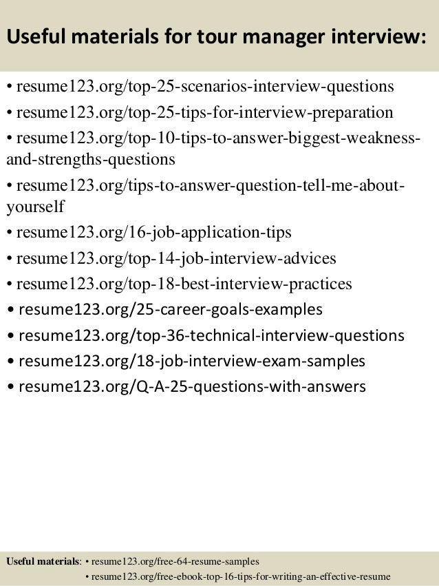 top  tour manager resume samples       useful materials for tour manager