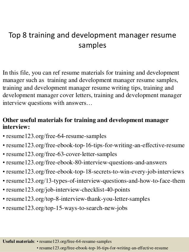 top 8 training and development manager resume samples