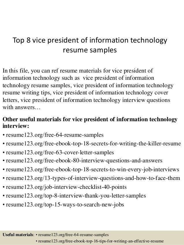 vp of information technology resume 28 images top 8