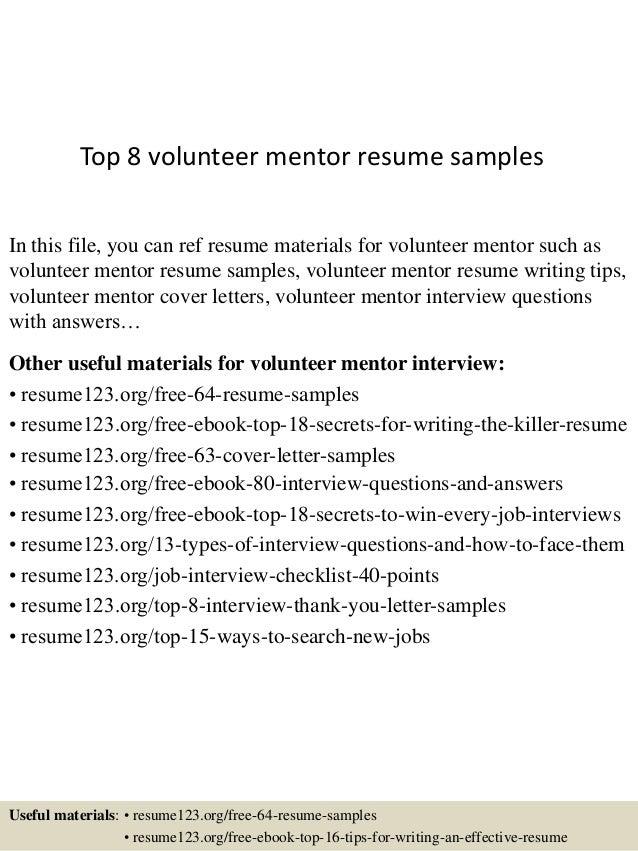 top  volunteer mentor resume samplestop  volunteer mentor resume samples in this file  you can ref resume materials for