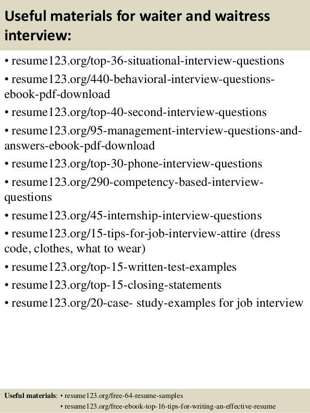 top  waiter and waitress resume samples