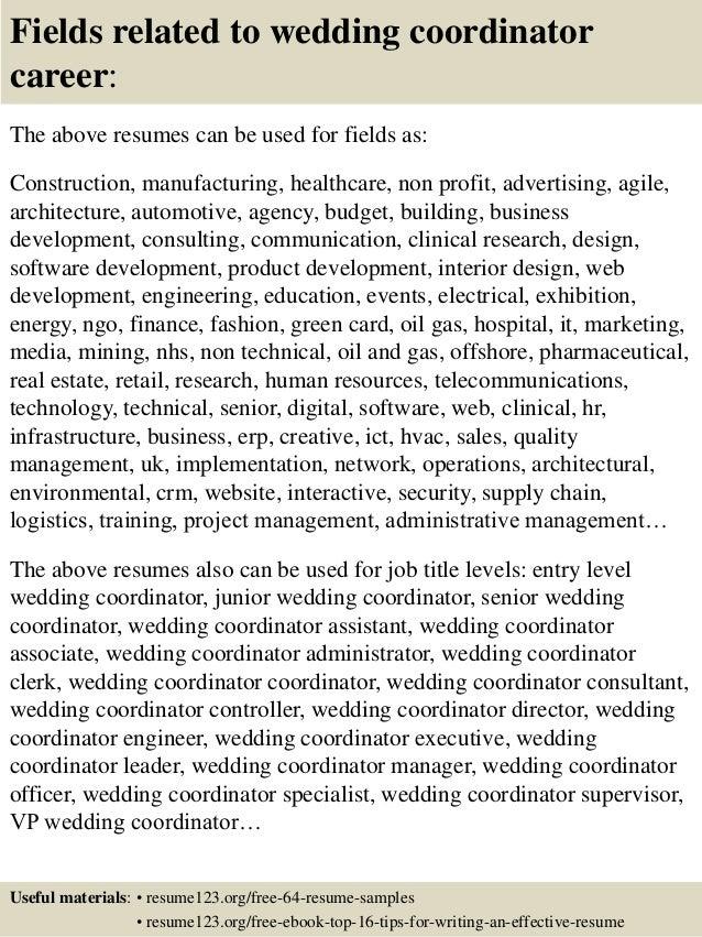 top 8 wedding coordinator resume samples