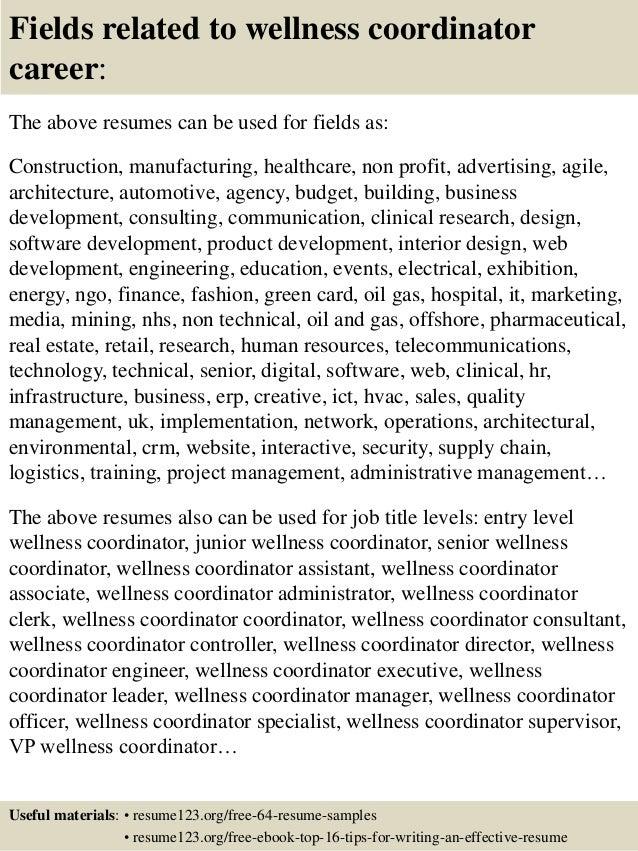 Wellness program manager cover letter