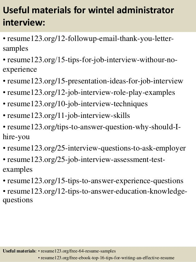 top  wintel administrator resume samples       useful materials for wintel administrator