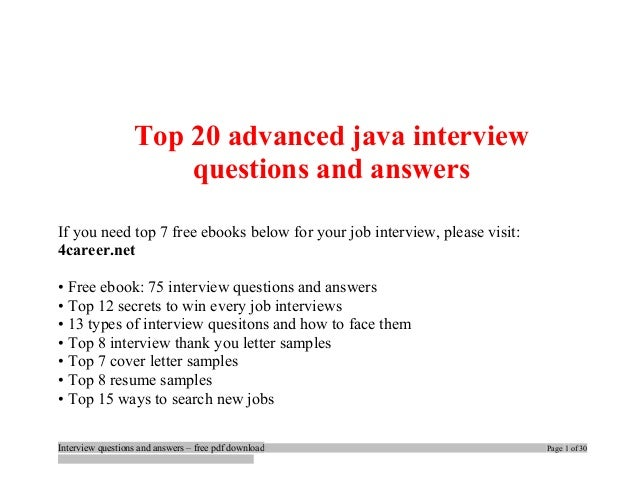 advanced java technical interview questions and answers pdf