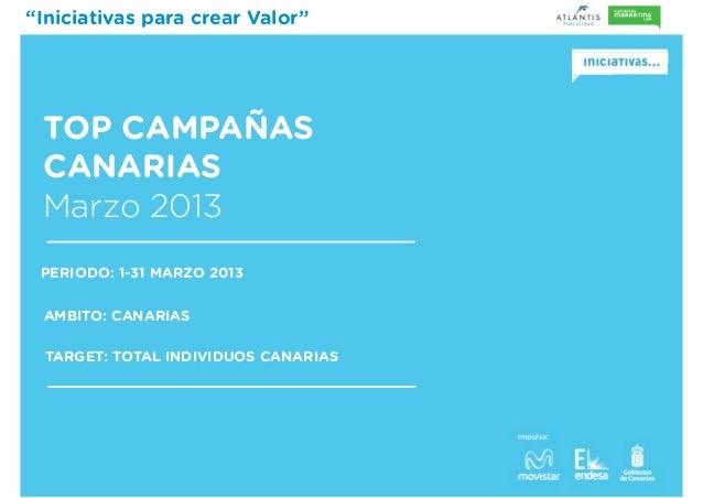 """""""Iniciativas para crear Valor""""TOP CAMPAÑASCANARIASMarzo 2013PERIODO: 1-31 MARZO 2013AMBITO: CANARIASTARGET: TOTAL INDIVIDU..."""