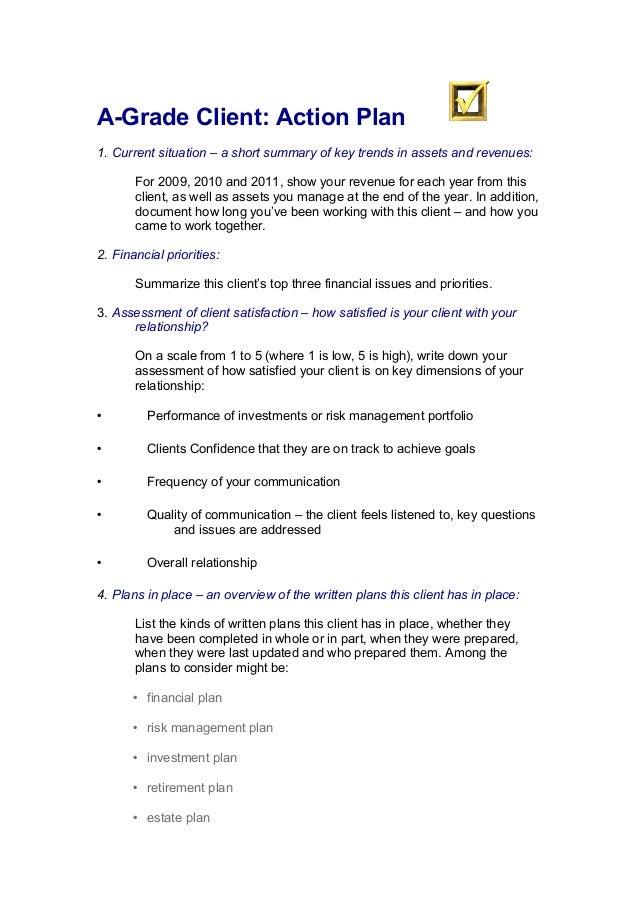 A-Grade client action plan