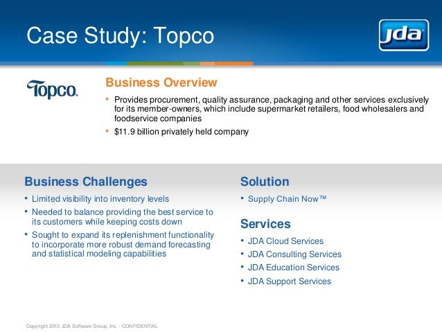Case Study: Topco Business Overview • Provides procurement, quality assurance, packaging and other services exclusively fo...