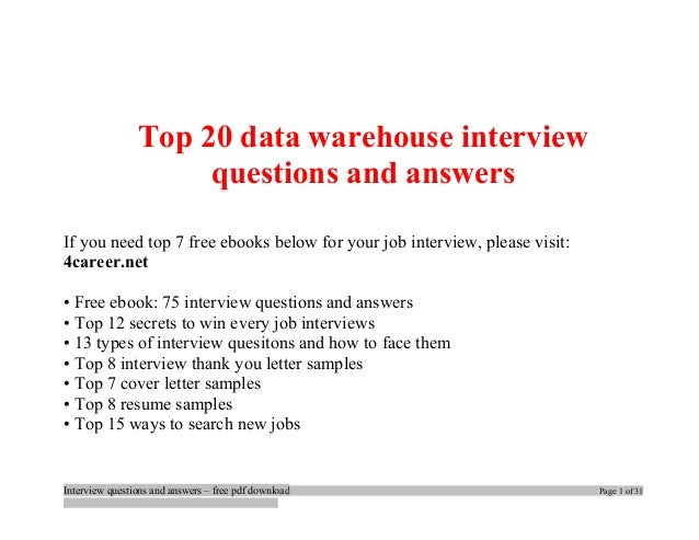Top data warehouse interview questions and answers job ...
