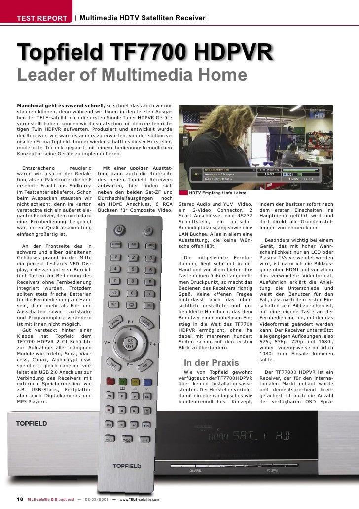 TEST REPORT                  Multimedia HDTV Satelliten Receiver     Topfield TF7700 HDPVR Leader of Multimedia Home Manchm...