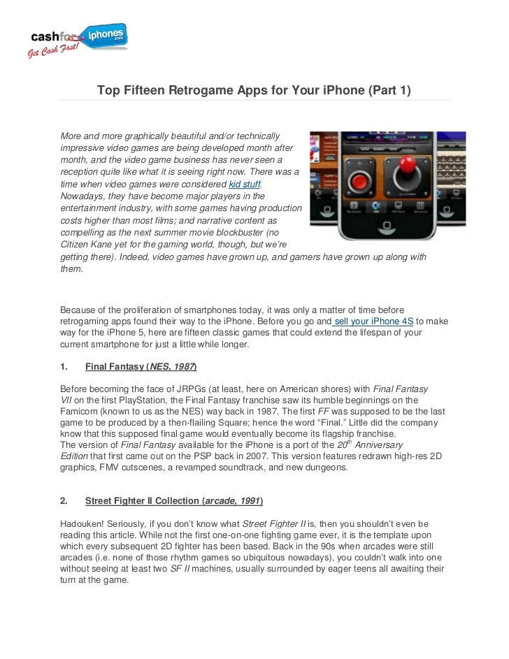 Top Fifteen Retrogame Apps for Your iPhone (Part 1)More and more graphically beautiful and/or technicallyimpressive video ...