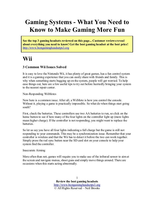 Gaming Systems - What You Need to Know to Make Gaming More Fun See the top 3 gaming headsets reviewed on this page... Cust...